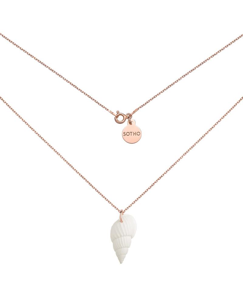 Naszyjnik z białą muszelką z różowego złota