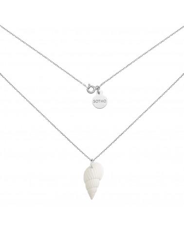 Srebrny naszyjnik z białą muszelką