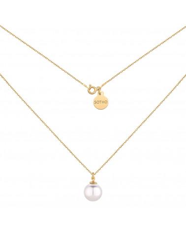 Złoty naszyjnik z białą perłą SWAROVSKI® CRYSTAL