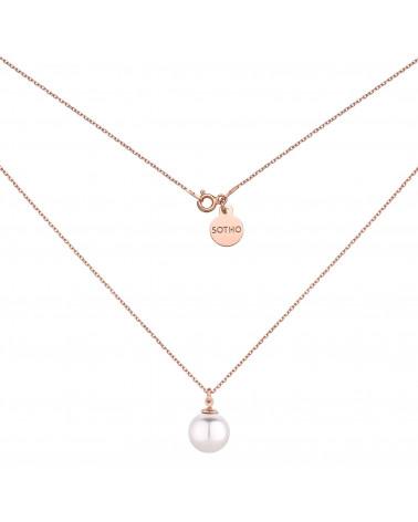 Naszyjnik z białą perłą SWAROVSKI® CRYSTAL różowe złoto