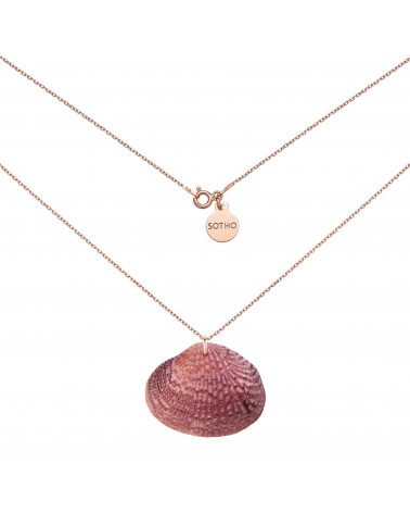 Naszyjnik z różowego złota z brązową dużą muszlą