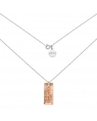 Srebrny naszyjnik ze złotym kryształem SWAROVSKI® CRYSTAL