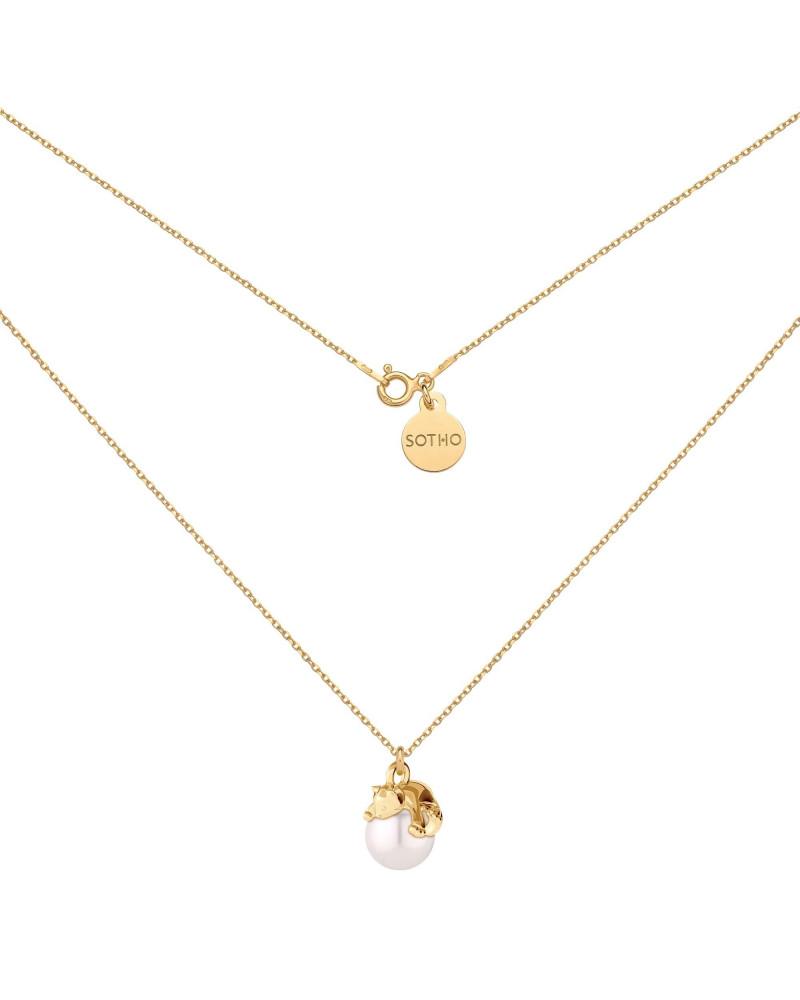 Złoty naszyjnik z kotkiem i perłą SWAROVSKI® CRYSTAL