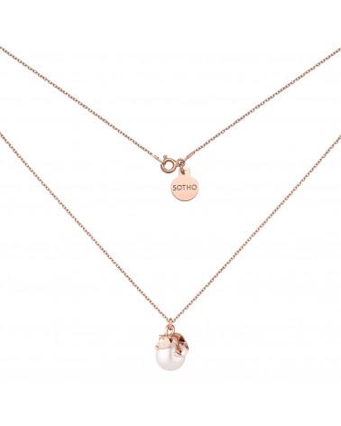 Naszyjnik z różowego złota z kotkiem i perłą SWAROVSKI® CRYSTAL