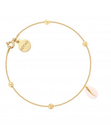 Złota bransoletka z kuleczkami i muszelką