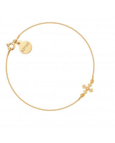 Złota bransoletka z krzyżykiem wysadzanym SWAROVSKI® CRYSTAL