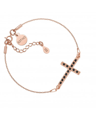 Bransoletka z różowego złota z krzyżem wysadzanym SWAROVSKI® CRYSTAL