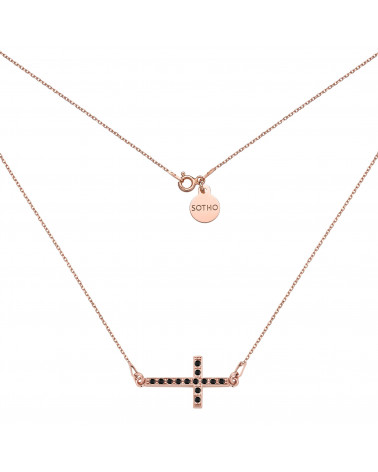 Naszyjnik z różowego złota z krzyżem wysadzanym SWAROVSKI® CRYSTAL