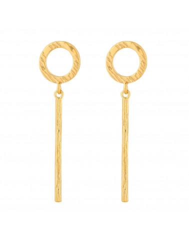 Złote kolczyki z kółeczkiem i podłużną zawieszką