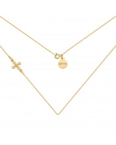 Złoty naszyjnik z krzyżykiem wysadzanym SWAROVSKI® CRYSTAL