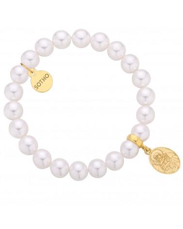 Bransoletka z pereł SWAROVSKI® CRYSTAL w kolorze White ze złotym medalikiem