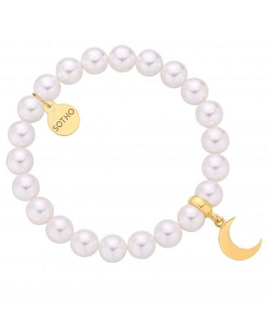 Bransoletka z pereł SWAROVSKI® CRYSTAL w kolorze White ze złotym księżycem