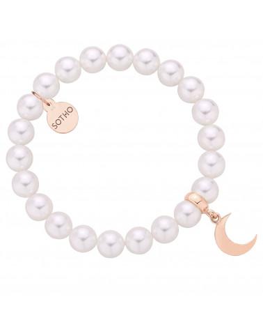 Bransoletka z pereł SWAROVSKI® CRYSTAL w kolorze White z księżycem z różowego złota