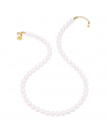 Złoty naszyjnik z biały pereł SWAROVSKI® CRYSTAL