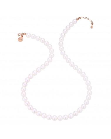 Naszyjnik z różowego złota z białych pereł SWAROVSKI® CRYSTAL