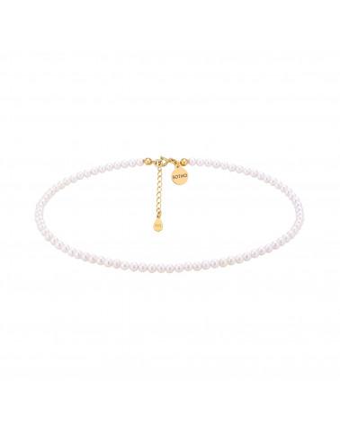 Złoty choker z białych pereł SWAROVSKI® CRYSTAL