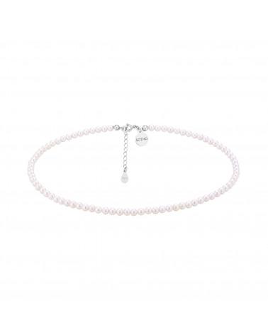 Srebrny choker z białych pereł SWAROVSKI® CRYSTAL