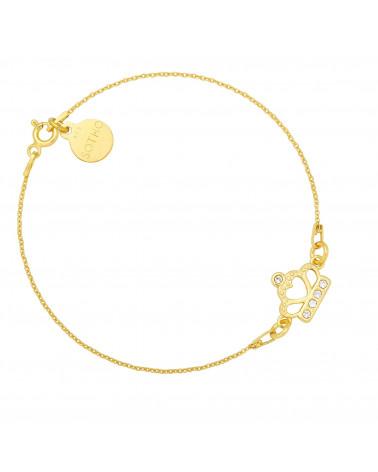 Złota bransoletka z koroną wysadzaną kryształami SWAROVSKI® CRYSTAL