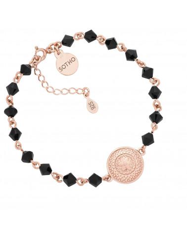 Bransoletka z różowego złota z medalionem i kryształami SWAROVSKI® CRYSTAL