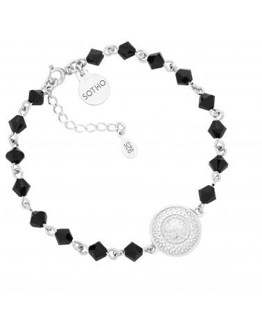 Srebrna bransoletka z medalionem i kryształami SWAROVSKI® CRYSTAL