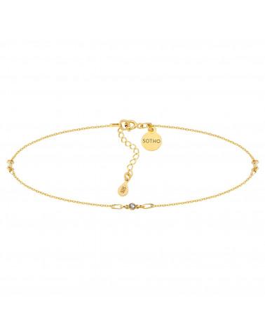 Złoty choker z bezbarwnymi kryształami SWAROVSKI® CRYSTAL