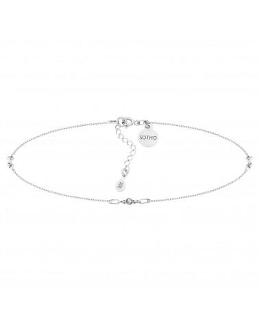 Srebrny choker z bezbarwnymi kryształami SWAROVSKI® CRYSTAL