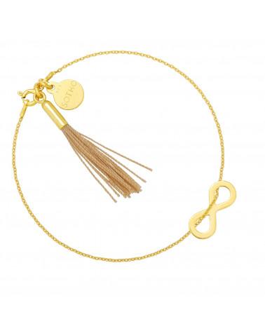 Złota bransoletka z nieskończonością i chwostem