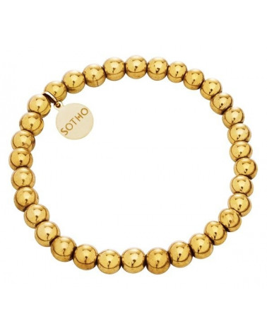 Złota modowa bransoletka złoty hematyt gładki złoto