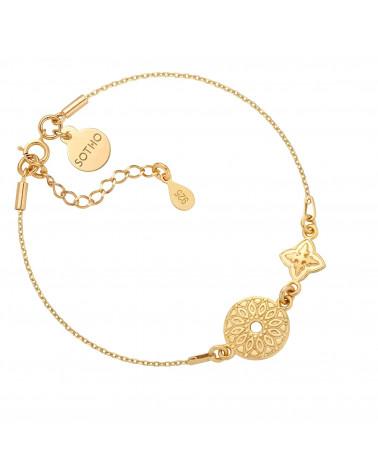 Złota bransoletka z dwoma rozetami