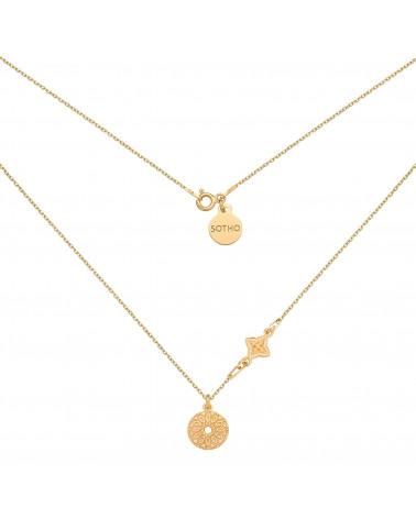 Złoty naszyjnik z rozetką i medalionem