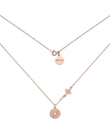 Naszyjnik z różowego złota z rozetką i medalionem