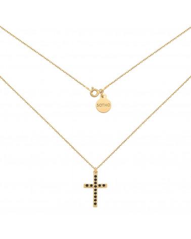 Złoty naszyjnik z krzyżem wysadzanym SWAROVSKI® CRYSTAL