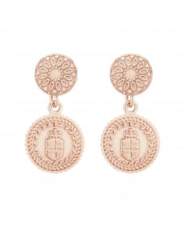 Kolczyki z medalionami z różowego złota