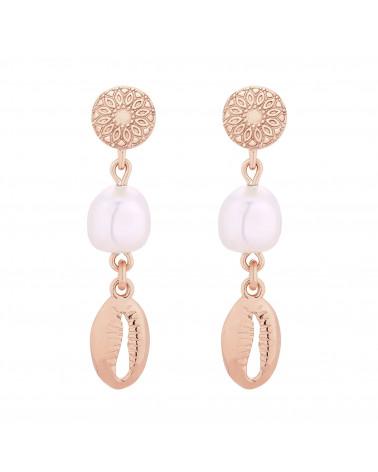 Długie kolczyki z różowego złota z muszelkami i perłami SWAROVSKI® CRYSTAL