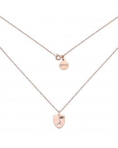 Naszyjnik z różowego złota Face N°6