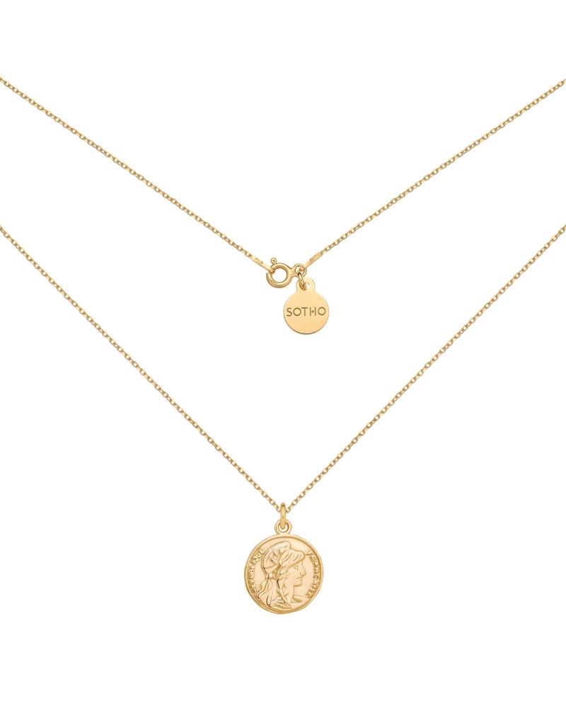 Złoty medalion z dużą monetą