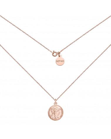 Medalion z różowego złota z dużą monetą