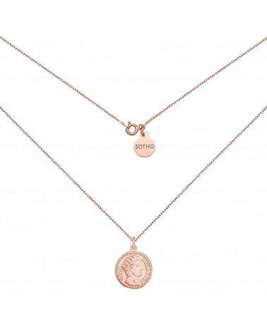 Medalion z różowego złota z monetą