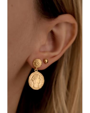 Kolczyki z różowego złota z monetami