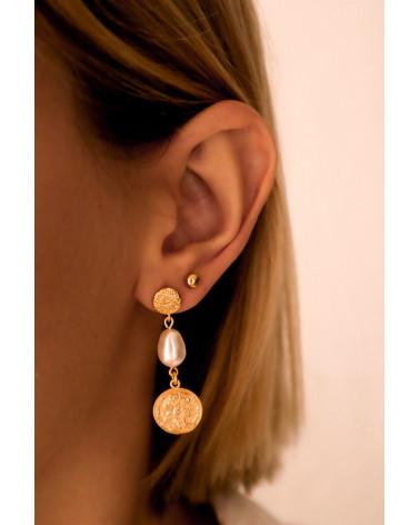 Długie kolczyki z różowego złota z monetami i perłami SWAROVSKI® CRYSTAL