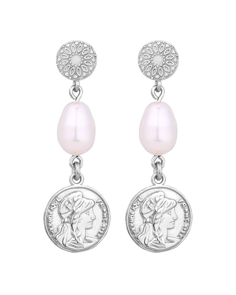 Srebrne długie kolczyki z monetami i perłami SWAROVSKI® CRYSTAL