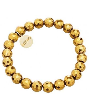 Złota bransoletka fasetowany złoty hematyt logowana zawieszka złoto