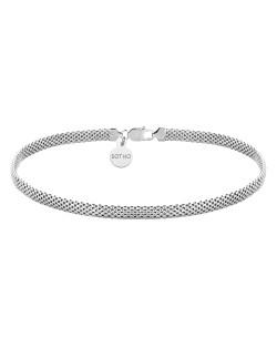 Srebrny choker z okrągłymi blaszkami i czarnymi kryształami SWAROVSKI® CRYSTAL