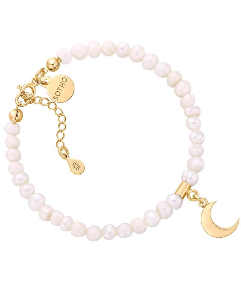 Złota bransoletka z pereł słodkowodnych z księżycem