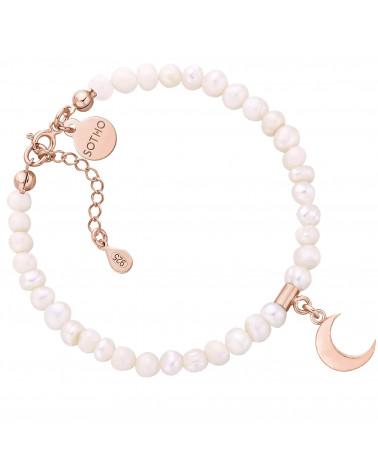 Srebrna bransoletka z pereł słodkowodnych z księżycem