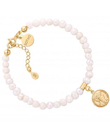 Bransoletka z pereł naturalnych ze złotą monetą