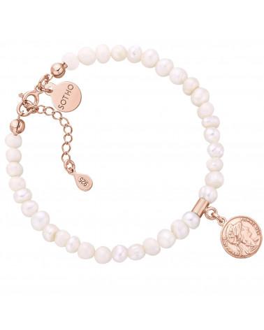 Bransoletka z pereł naturalnych z monetą z różowego złota