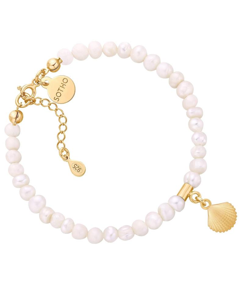 Bransoletka z pereł naturalnych ze złotą muszelką