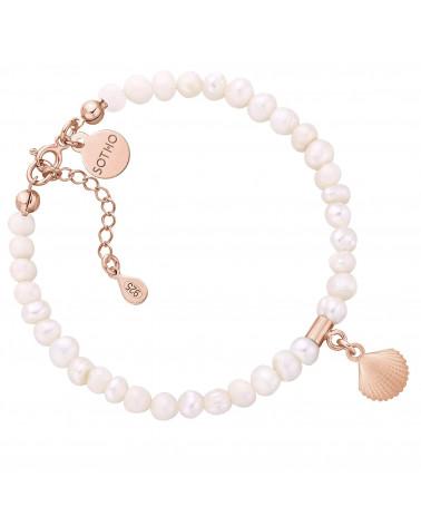 Bransoletka z pereł naturalnych z muszelką z różowego złota