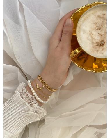 Bransoletka z pereł naturalnych pozłacana żółtym złotem